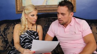 Naughty blonde girl Ashley Fires gives a head and gets a hot rimjob