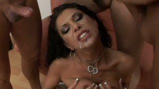 Slutty brunette Cintia Silver has a strong desire to please three tools