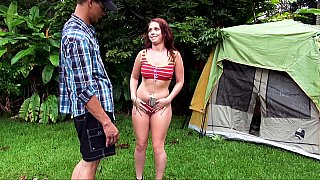 Two sluts pitch a tent